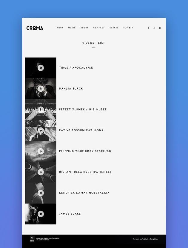 Croma - Responsive Music WordPress Theme with Ajax