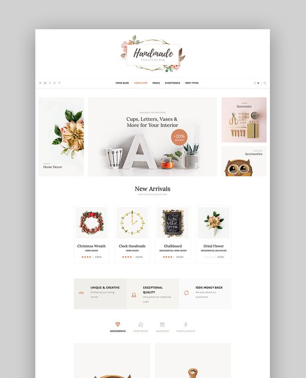 Handmade Shop - Handicraft Blog  Creative Shop WordPress Theme