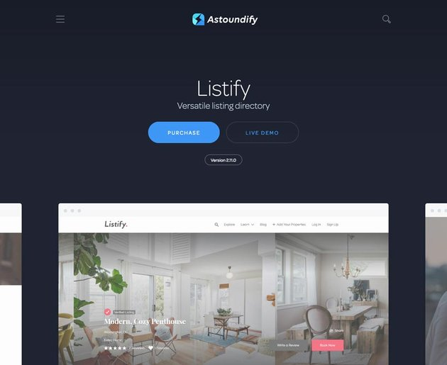 Listify multipurpose WordPress directory theme that continues to trend in 2020