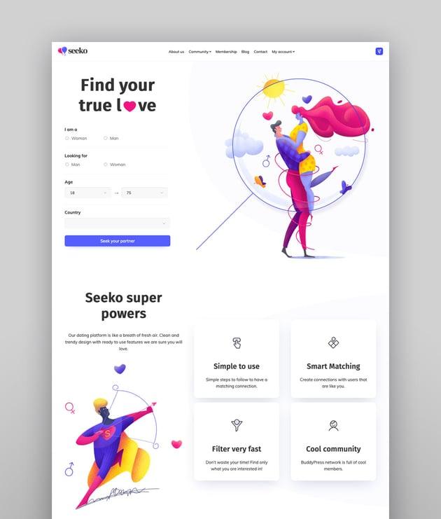 Seeko - Bestes WordPress-Theme für BuddyPress