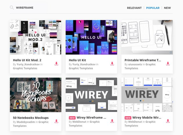 Wireframing on Envato Elements