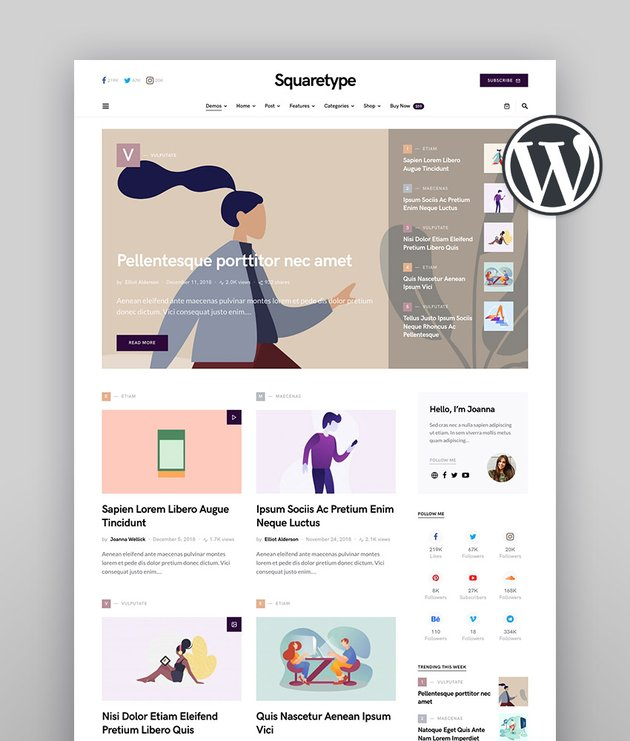 Squaretype - Modern Blog Author WordPress Theme
