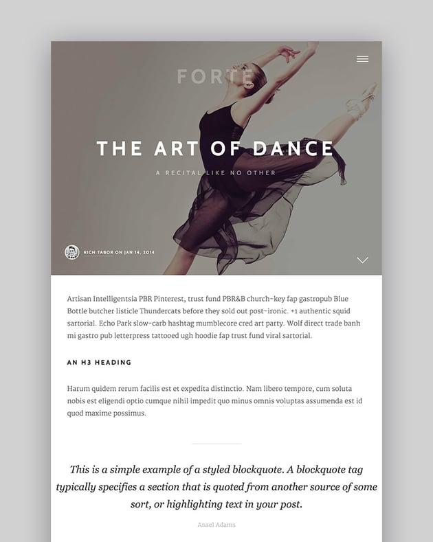 Forte - A Stylish WordPress Theme for Writers