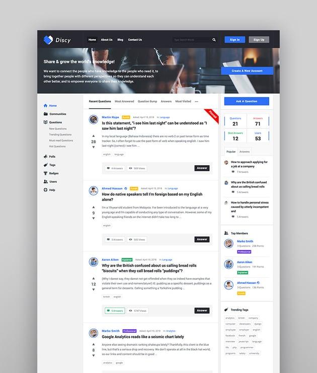 Discy - Tema de WordPress para preguntas y respuestas sociales