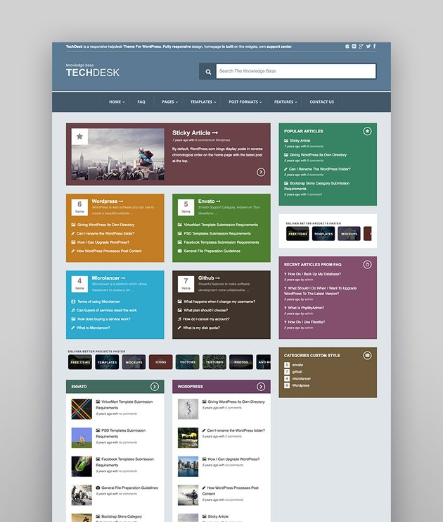 TechDesk - Colorido tema para soporte estilo wiki de WordPress