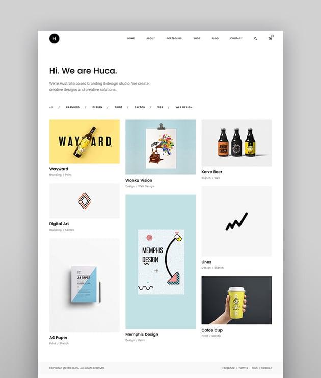 Huca - Minimal Portfolio WordPress Theme