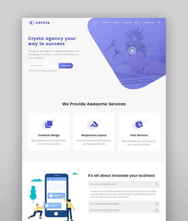 Crysta - Startup Agency and SasS Business WP Theme