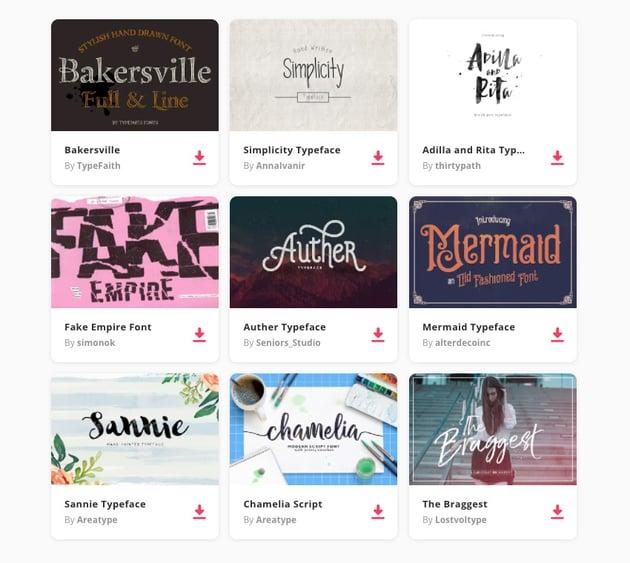 web fonts on Envato Elements