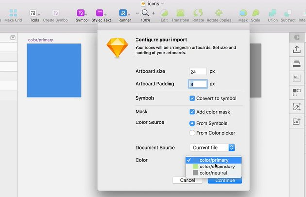 Configuring Sketch Icons import