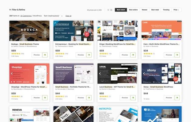 Temas de WordPress disponibles en ThemeForest para crear el sitio web de una empresa