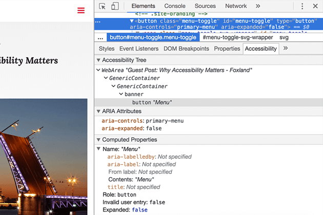 Accessibility pane in Chrome showing button element information
