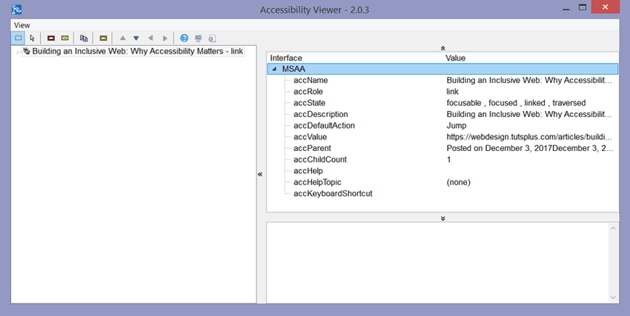 Accessibility Viewer displays link name role state and other information