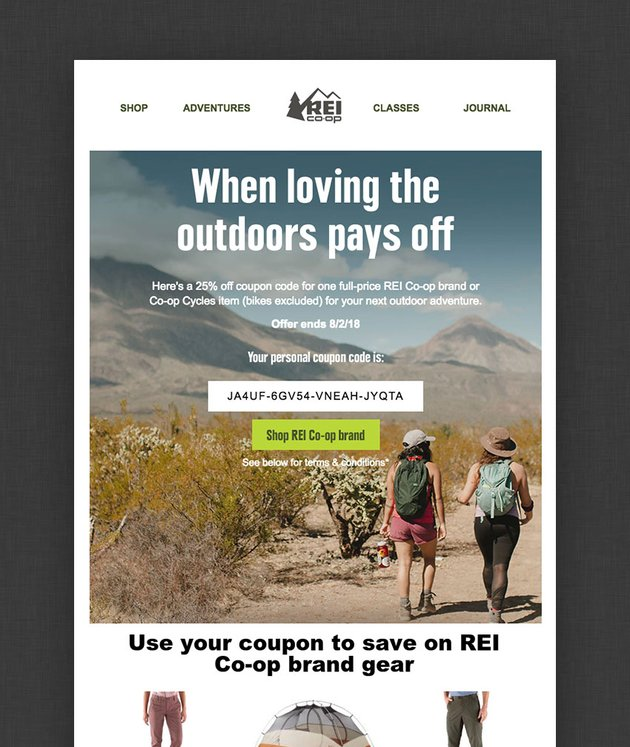 email design from ReI