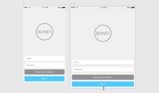 Original and resized UI in Adobe XD
