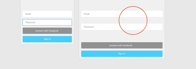 email and password inputs are spaced a bit too far away from one another