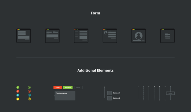 Website Userflow  Sitemap UX Kit dark version