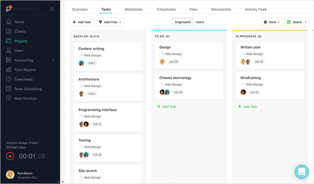 A Kanban board used by a web design team