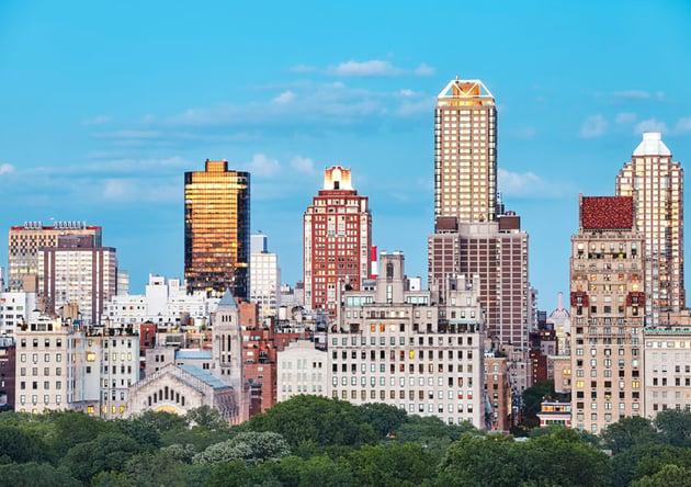 New York City skyline over the Central Park USA