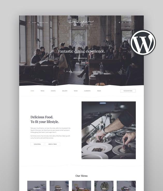 Ginger  Restaurant WordPress Theme