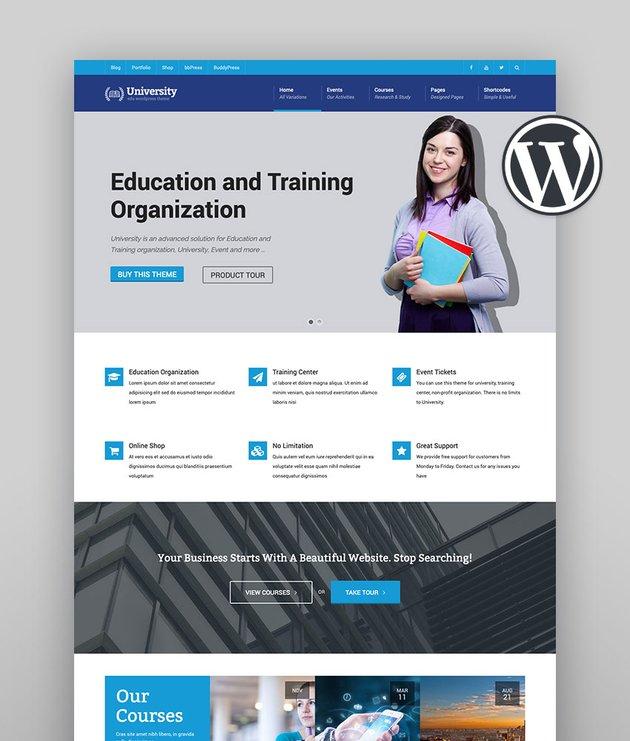 University - Education Event and Course Theme