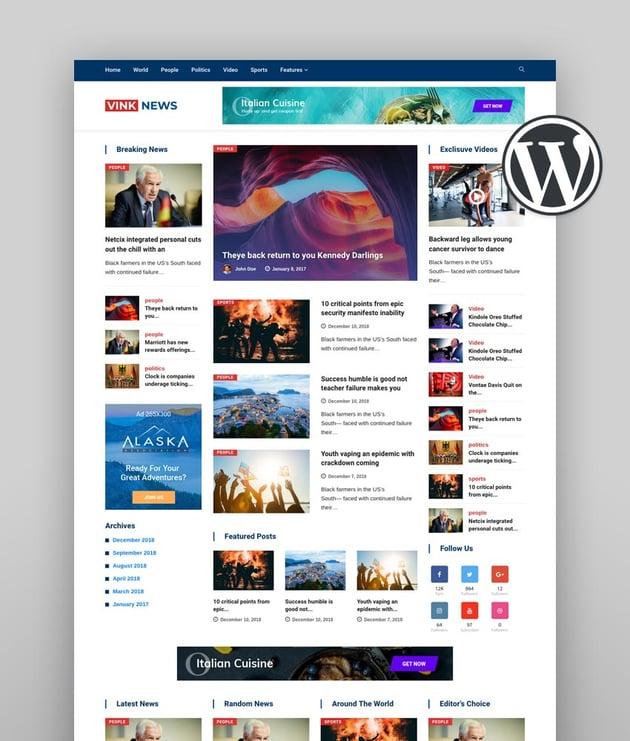 Vinkmag WordPress News Theme 2020