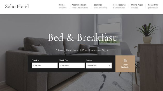 Soho Hotel WordPress Booking Template