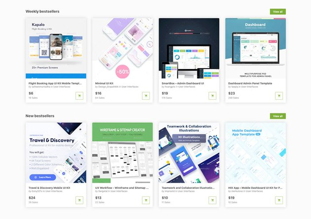 Choose from over 1800 UI templates on GraphicRiver