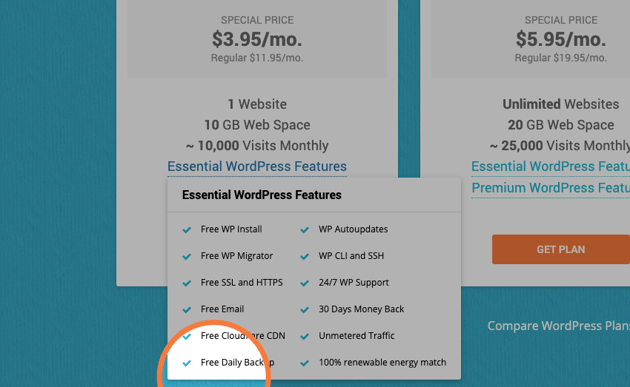 free daily backups from siteground