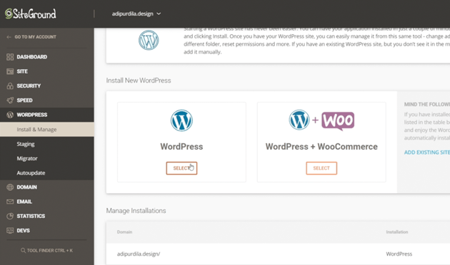 install wordpress and woocommerce with siteground hosting