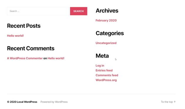 wordpress default content