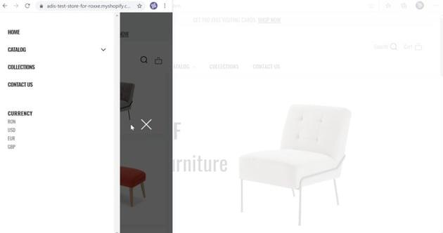 slide-in menu on mobile