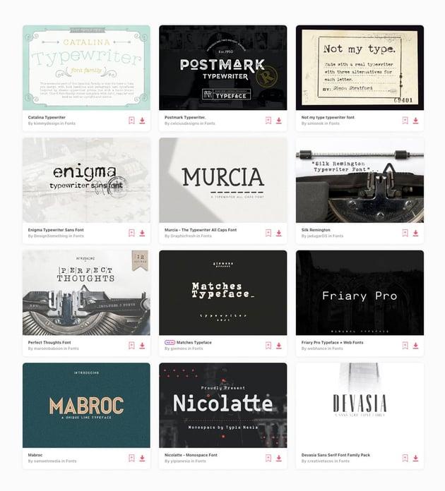 typewriter web fonts on envato elements