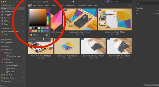 filter design assets by color