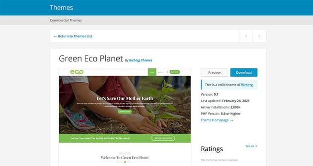 Green Eco Planet (Free WordPress Theme)