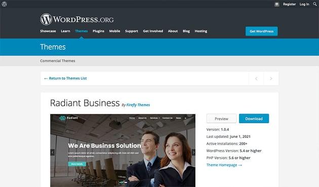 Radiant Business (Free Business WordPress Theme)