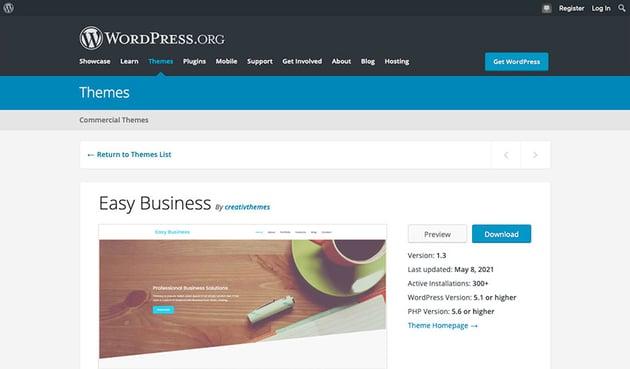 Easy Business (Free Business WordPress Theme)