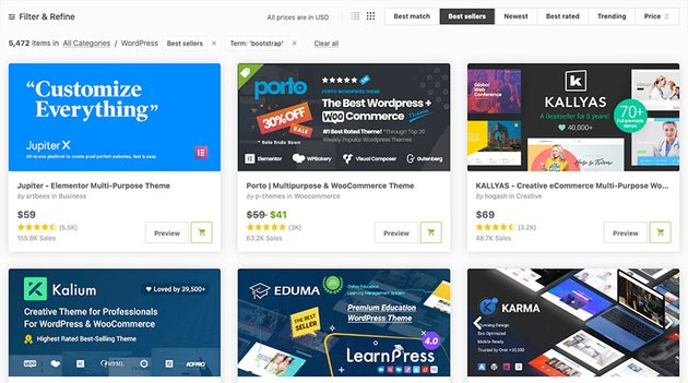HTML Bootstrap templates on Themeforest