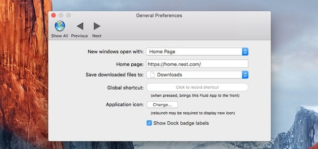 Fluid app General Preferences for configuring the app icon