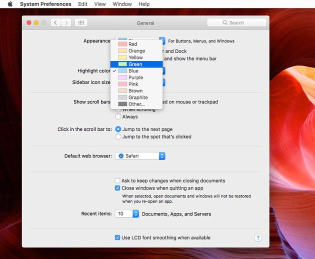 Changing the default colour in macOS