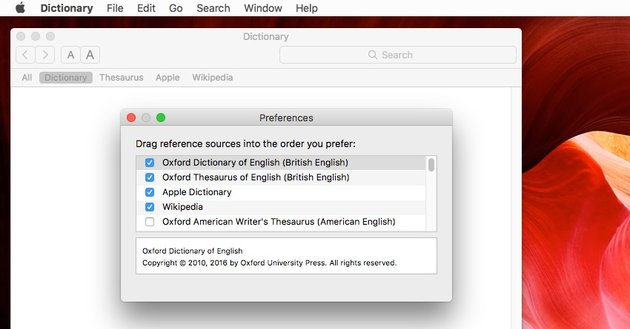 Specifying the dictionary resources to use
