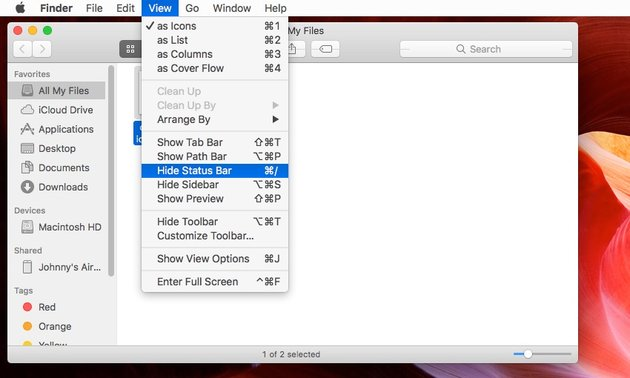 Returning the status bar to the bottom of the Finder window