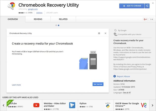 The Chromebook Recovery Utility in the Chrome Web Store