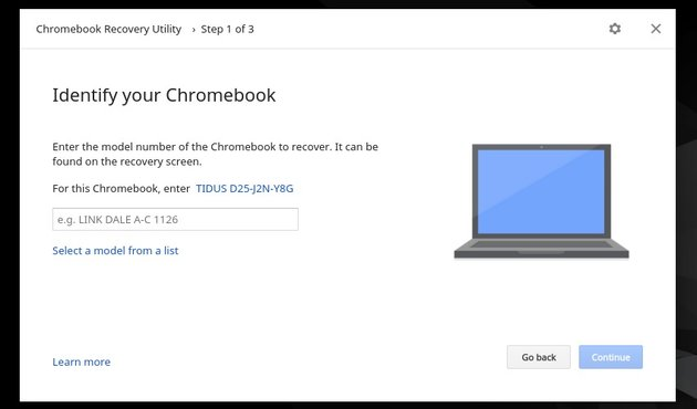 Use the destination Chromebook identifier to create the recovery media