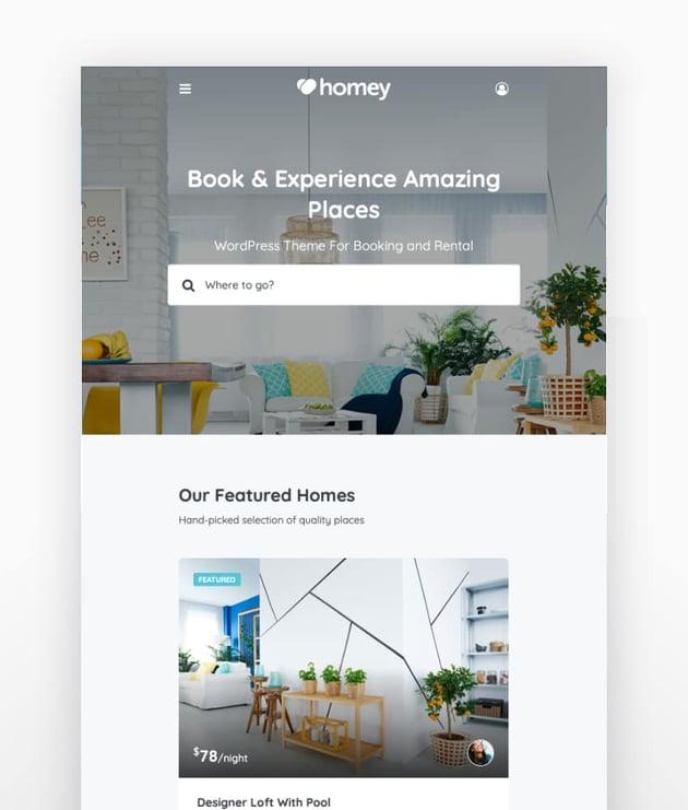 Homey - Tema WordPress de inmobiliaria para reservas y alquileres