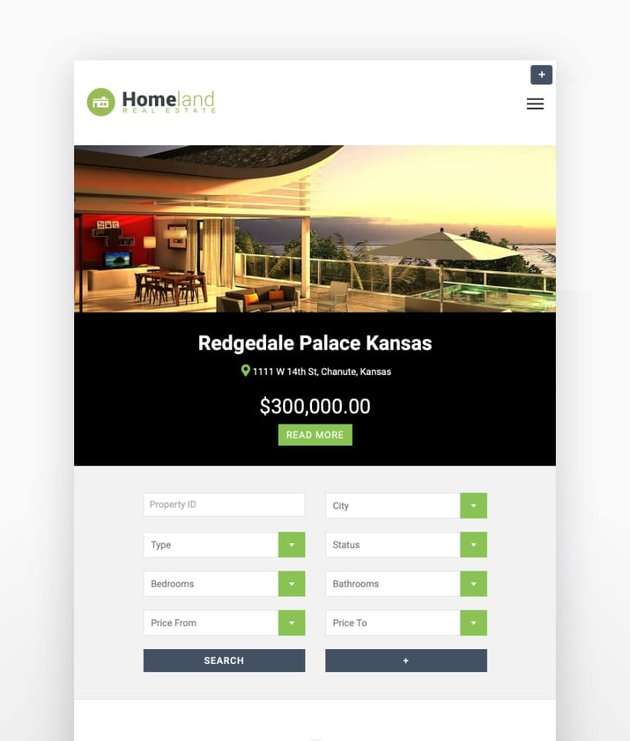 Homeland - Tema de WordPress para inmobiliaria con diseño responsive
