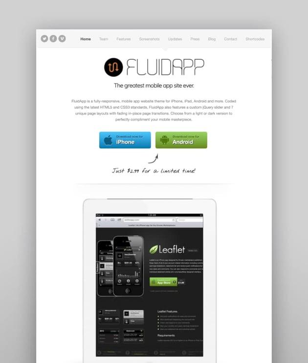 FluidApp—Responsive Mobile App WordPress Theme