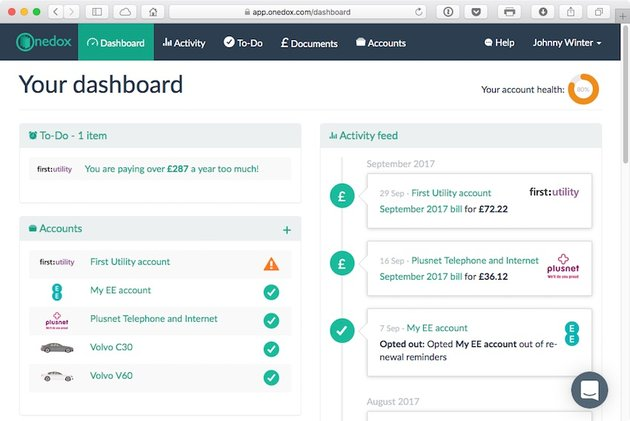The OneDox dashboard gives an overview of household administration
