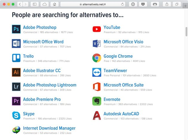 Search for alternatives to popular software solutions