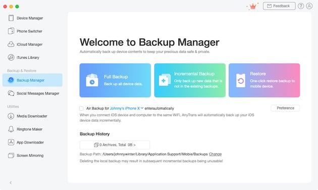 AnyTrans Backup Manager
