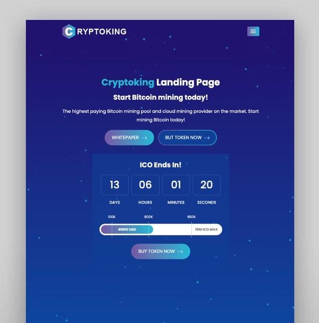 Cryptoking - Tema de WordPress para Bitcoin e ICO